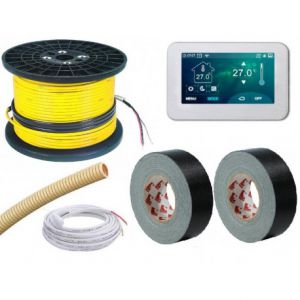 160mtr, SDIR 3mm verwarmingskabel 1600W 160mtr, incl thermostaat, sensorbuis en 2 rollen ducttape, 1600W