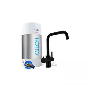 HOTTO met ZWART rechte kraan Quadro, boiler 8 liter inclusief inlaatcombinatie en mengventiel