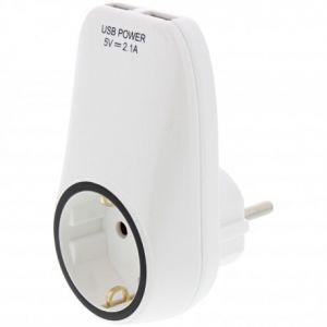 Plugin stekker wcd randaarde met 2x usb aansluiting, STOPCONTACT RANDAARDE MET 2 X USB OPLADER