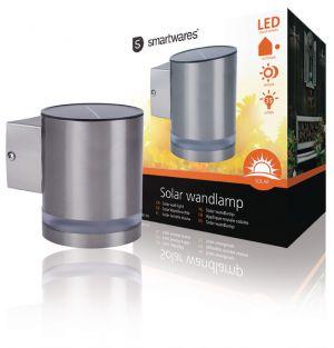 Solar Wandlamp LED Zilver voor in de tuin, bij je terras of aan een muur