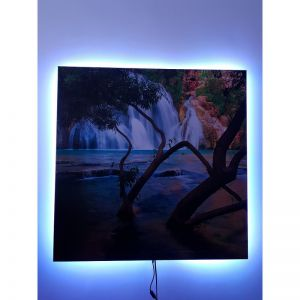 canvas 40x60cm met LED verlichting 60W IPx4, 230V, 400W per m2, infrarood canvasdoek, LED via app Tuya te bedienen