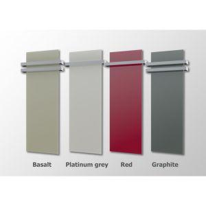 Exclusive glas infraroodpaneel Zwart 500W + 1 RVS handdoekbeugel, 40x120cm, 230V,  Badkamer verwarming