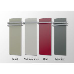 Exclusive glas infraroodpaneel platina grijs 500W + 1 RVS handdoekbeugel, 40x120cm, 230V,  Badkamer verwarming